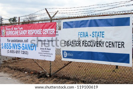 BREEZY POINT, NY - NOVEMBER 15:  New York State Hurricane Sandy response center and FEMA  disaster recovery center   in the aftermath of Hurricane Sandy on November 15, 2012 in Breezy Point, NY - stock photo