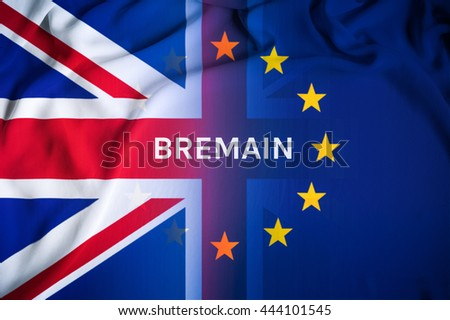Bremain concept, UK leave from EU and want to remain again. The flag of UK with word remain. From UK referendum result Brexit ; United Kingdom or British withdrawal from the EU (European Union) 2016.
