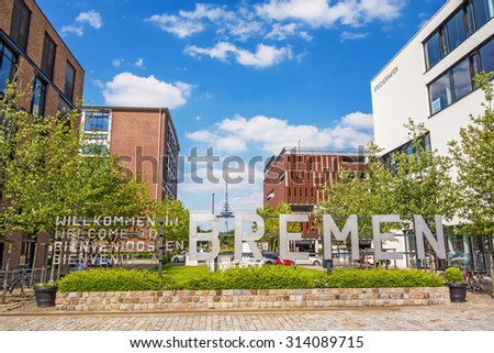 Bremen, Germany - June 6, 2014: Speicherhafen / Marina Europahafen Bremen, the name of the city written with upper case letters - stock photo