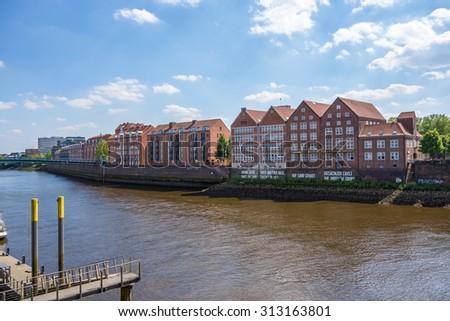 Bremen, Germany - June 6, 2014: Weserburg Museum of Modern Art at the peninsula Teerhof, it hosts several exhibitions each year.  - stock photo