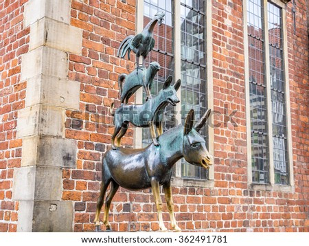 BREMEN, GERMANY - SEP 10: The statue of Town Musicians of Bremen in Bremen in Germany on September 10, 2013. Bremen is a Hanseatic city in northwestern Germany.