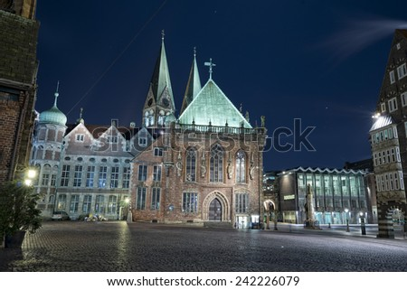 bremen old town historical center church dome city hall night view - stock photo