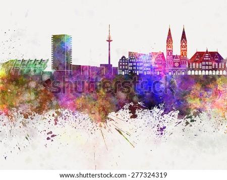 Bremen skyline in watercolor background - stock photo