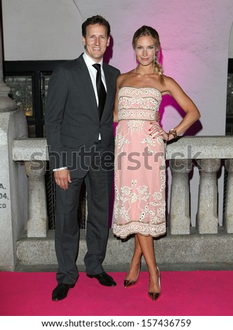 Brendan Cole and Zoe Hobbs arriving at the Inspiration Awards For Women 2013, at the Cadogan Hall, London. 02/10/2013 - stock photo