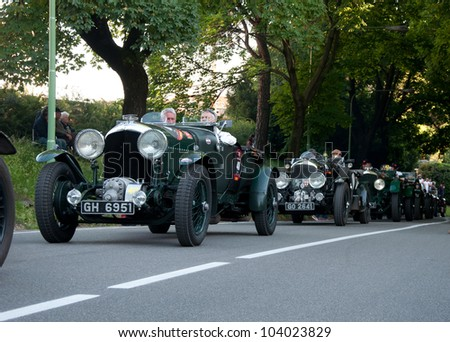 BRESCIA, ITALY - MAY 17: A 1930 built Bentley Speed Six Car on Mille Miglia,the famous race for historic cars, May 17,2012 in Brescia,Italy