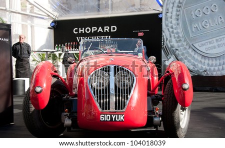 BRESCIA,ITALY - MAY 17: A 1950 built red Healey Silverstone on Mille Miglia,the famous race for historic cars,May 17,2012 in Brescia,Italy - stock photo