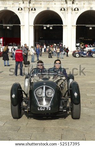 BRESCIA,ITALY - MAY,6: a Healy Silverstone  of 1950 at the puncing of Mille Miglia,the famous race for historic cars,May 6,2010 in Brescia,Italy - stock photo