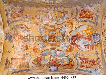 BRESCIA, ITALY - MAY 23, 2016: The ceiling frescoes from life of St. Peter and Paul in church Chiesa di Santa Maria del Carmine  by Tommaso Sandrino (1580 - 1630)