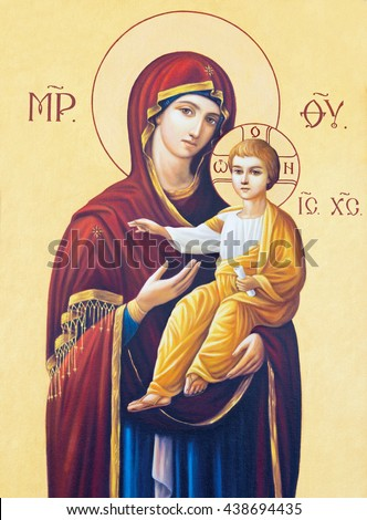 BRESCIA, ITALY - MAY 23, 2016: The icon of Madonna in presbytery of church Chiesa di Angela Merici by unknown artist.