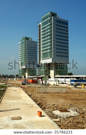 Brescia,Lombardy,the shipyard for the construction commercial buildings