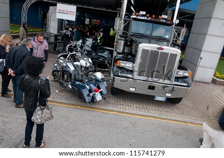 BRESCIA(MONTICHIARI),ITALY - OCTOBER,14: Stand and truck of Harley Davidson on Festival of motors in the venue Garda, October 14, 2012, in Montichiari,Brescia,Italy