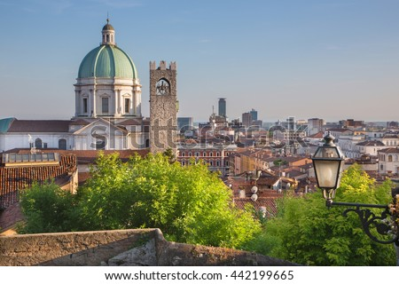 Brescia - The Duomo cupola over the town in evening light.