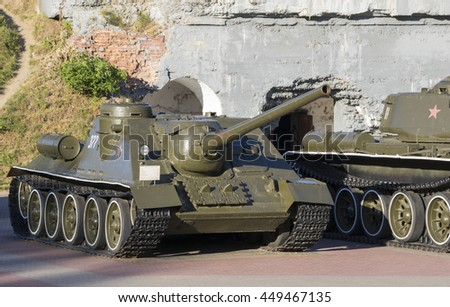 Brest, Belarus, 06 July 2016: Exposition of military equipment of times of World War II in the Brest fortress.