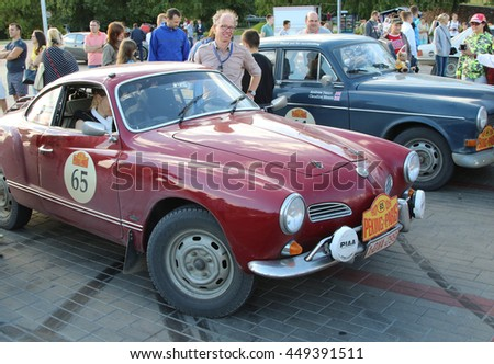 Brest, Belarus, 06 July 2016: The 6th Peking to Paris Motor Challenge 2016. Demonstration of cars on the platform near the Brest fortress.