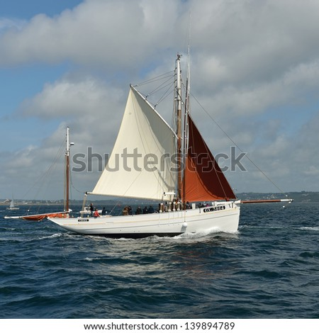 "BREST, FRANCE-JULY 16: Tall ships festival. Team ""Groix"" struggling for first place, 16 July 2012. Brest, France"