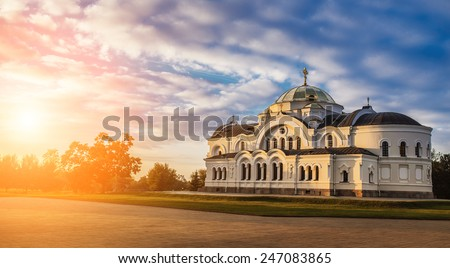 Brest garrison cathedral of St Nicholas, Belarus, in sunset. - stock photo