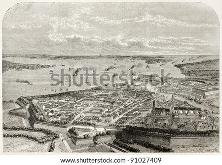 Brest old bird eye view. Created by Guesdon, published on L'Illustration, Journal Universel, Paris, 1858 - stock photo