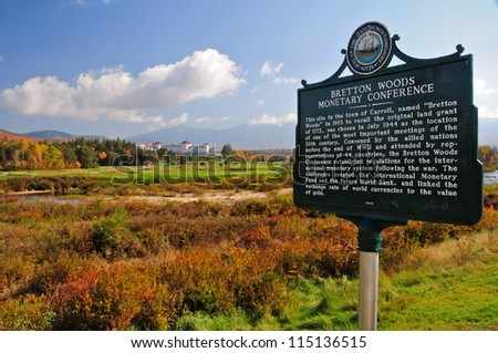 Bretton Woods sign, New Hampshire, USA - stock photo