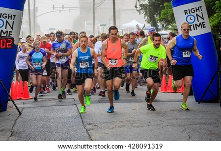 BREVARD, NC-MAY 28, 2016 - White Squirrel 10K Race start with over 350 runners in Brevard, NC 2016