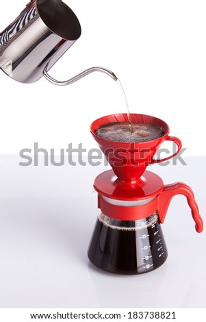 Brew coffee in pour-over - stock photo