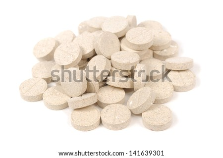 Brewer's Yeast Tablets Isolated on White Background - stock photo