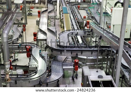 Brewery, conveyor, top view - stock photo