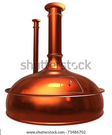 brewery isolated on white, 3d render isolated on white - stock photo