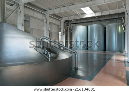 Brewing production - mash vat, the interior of the brewery, nobody - stock photo