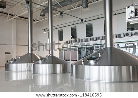 Brewing production - mash vats - stock photo