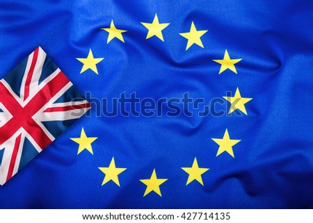 Brexit. Brexit Yes. Brexit No. Flags of the United Kingdom and the European Union. UK Flag and EU Flag. British Union Jack flag. Flag outside stars. England appearances in the European Union. - stock photo