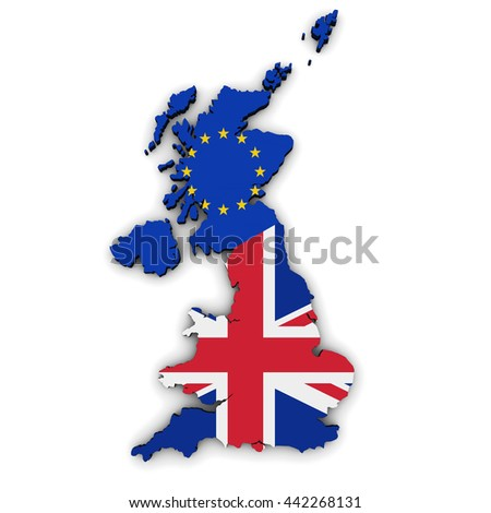 Brexit British referendum concept with Union Jack and EU flag on UK map and shape 3D illustration on white background.