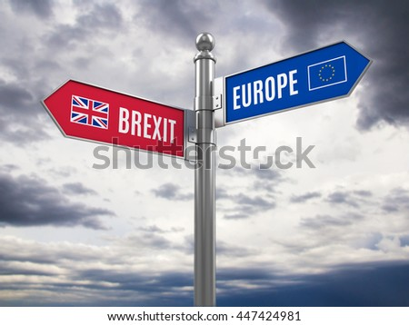 Brexit concept - Euro and Brexit road signs with flags. 3d rendering