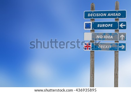 Brexit concept with signpost for decision