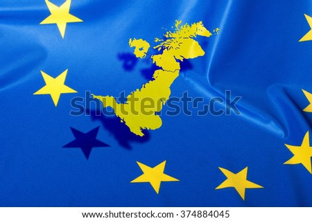 Brexit - Detail of  Separated Silky Flags of European Union and United Kingdom - stock photo