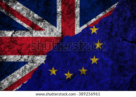 Brexit. Flags of the United Kingdom and the European Union to illustrate possible exit of Great Britain from the EU - stock photo