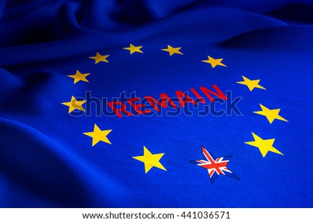 Brexit leave or remain concept about UK (United Kingdom or British) withdrawal from the EU (European Union) often shortened to Brexit. Fabric flag of UK for Brexit referendum campaign with word remain - stock photo