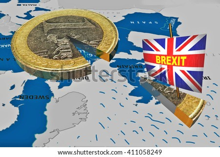 brexit, piece of euro coin like ship and flag of Great Britain, 3d rendering - stock photo
