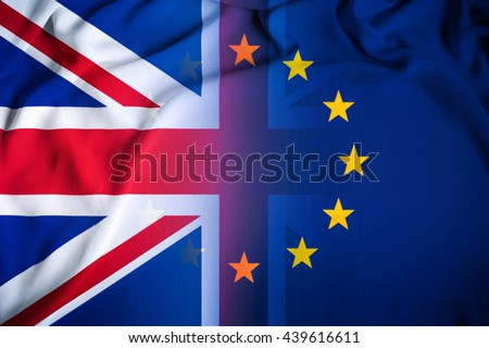 Brexit referendum UK (United Kingdom or Great Britain or England) withdrawal from EU (European Union), British vote leave. The flag of UK & EU Symbolic that represent a lot of concept design to Brexit - stock photo