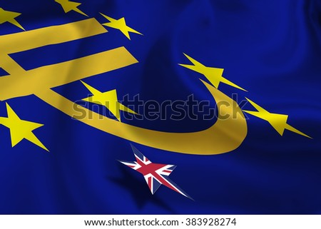 Brexit Silky Flag Euro Currency Symbol Stock Illustration 383928274