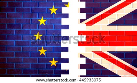Brexit. Silky Flags of European Union and United Kingdom.  - stock photo