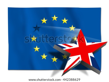 Brexit - Star with United Kingdom flag flying over the flag of the European Union