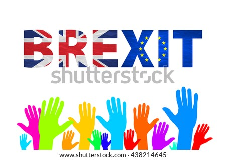 Brexit Text Isolated art colorfull hand
