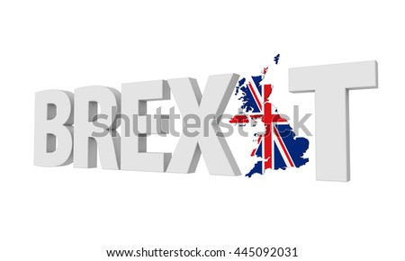 Brexit Text Isolated. 3D rendering