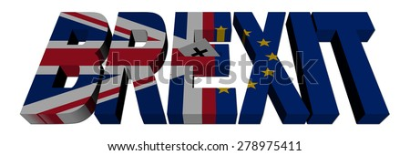 Brexit text with Ballot paper and British and Eu flags illustration - stock photo