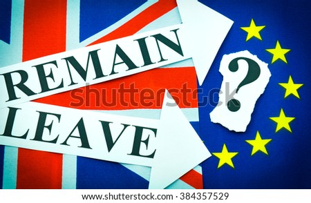 Brexit UK EU referendum concept with flags and leave vs. remain message - stock photo