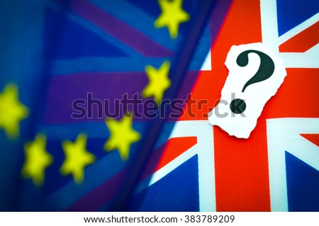 Brexit UK EU referendum concept with flags and question mark symbolising uncertainty  - stock photo