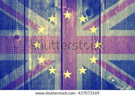 Brexit - United Kingdom flag, EU flag, cracks and euros - stock photo