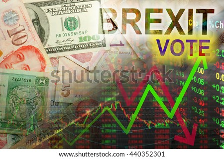 Brexit vote in stock chart - stock photo