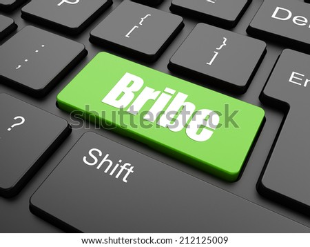 Bribe with Money in the Hand Icon - Button on Black Computer Keyboard. - stock photo