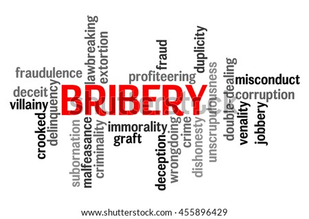Bribery info text word cloud concept on white background - stock photo